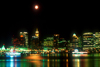 Canada / Kanada - Vancouver: night skyline with full moon - photo by D.Smith