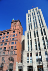 Montreal, Quebec, Canada: Aldred and New York Life buildings - fa�ades in Indiana limestone and Scottish Old Red Sandstone respectively  - Place d'Armes - Vieux-Montr�al - photo by M.Torres