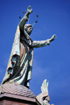 Montreal, Quebec, Canada: Notre-Dame-de-Bon-Secours chapel - Our Lady of Perpetual Help spreads her arms wide to the St. Lawrence and blesses mariners - sculpture by P. Laperle - Vieux-Montr�al - photo by M.Torres