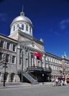 Montreal, Quebec, Canada: Bonsecours market and caleche on Rue de La Commune - Neo-classical style - architects William Footner and George Browne - Vieux-Montr�al - photo by M.Torres
