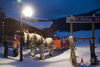 Kamloops, BC, Canada: horse drawn sledge and Mt. Morrisey sign - Sun Peaks ski resort - photo by D.Smith