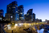 Vancouver, BC, Canada: Coal Harbour condominium and waterfront development in Coal Harbour - nocturnal - photo by D.Smith