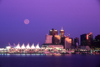Vancouver, BC, Canada: Full moon over Vancouver - city skyline at sunset - Canada Place - photo by D.Smith