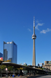 Toronto, Ontario, Canada: CN Tower and Telus Tower - seen from the GO bus terminal at Union Station - photo by M.Torres