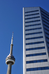 Toronto, Ontario, Canada: CN Tower and Citibank Place - designed by John B. Parkin Associates - Front Street West - photo by M.Torres