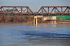 Winnipeg, Manitoba, Canada: CPR Redditt Bridge - CN railway bridge - steel trusses over the Red river - photo by M.Torres