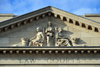 Winnipeg, Manitoba, Canada: historic Provincial Law Courts - pediment on the Kennedy Street façade - blind justice and  cornucopias in the tympanum - photo by M.Torres