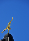 Winnipeg, Manitoba, Canada: Legislative building - Statue of the Golden Boy on the top of the dome - a gift from France - gilded 5.25 meter tall figure sculpted by Charles Gardet - ' Eternal Youth' - modelled after a sixteenth century statue to Hermes Trismegestus (Mercury) by Giovanni da Bologna - photo by M.Torres