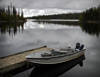 Canada / Kanada - Saskatchewan: fishing boat - reflections in the water - photo by M.Duffy