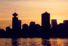 Canada / Kanada - Canada - Vancouver / YVR / YVD : dusk at the Harbour Centre - Burrard inlet - skyline - photo by M.Torres
