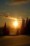Canada / Kanada - Saskatchewan: scenic Northern Canada sunset reflecting on the snow and water - photo by M.Duffy