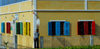 S�o Filipe, Fogo island - Cape Verde / Cabo Verde: colorful windows - photo by E.Petitalot