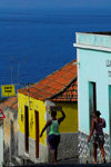 S�o Filipe, Fogo island - Cape Verde / Cabo Verde: women walking downhill - Caf� Fixe - photo by E.Petitalot