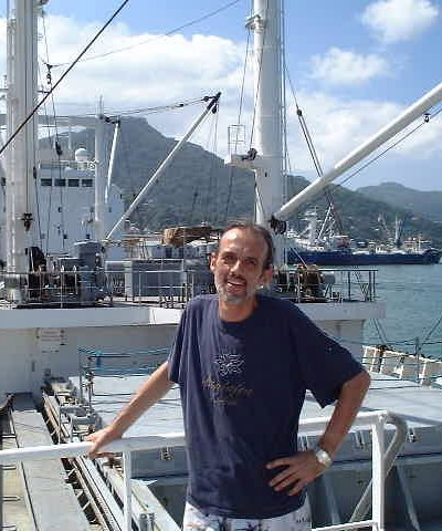 photographer Peter Mosselberger on board the Nova Scotia in Victoria, Mahé Island, Seychelles