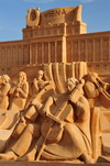 Barcelona, Catalonia: Vienna sand sculpture, orchestra and Schoenbrunn palace - Barceloneta beach - photo by M.Torres