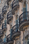 Barcelona, Catalonia: building facade - balconies - photo by T.Marshall