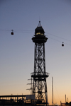 Barcelona, Catalonia: cable car station - cable car station - Torre Jaume I at dusk - steel truss tower - part of the aerial tramway from Torre Sant Sebastia to Montjuïc - architect Carles Boigas - Moll de Barcelona - Barceloneta - Transbordador Aeri - photo by T.Marshall