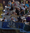 Barcelona, Catalonia: people relax at Parc Guell - benches - photo by T.Marshall