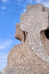 Barcelona, Catalonia: access tower covered in tile shards, roof of Casa Milà, La Pedrera, by Gaudi - UNESCO World Heritage Site - photo by M.Torres