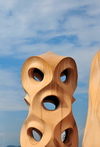 Barcelona, Catalonia: vent on the roof of Casa Milà, La Pedrera, by Gaudi - UNESCO World Heritage Site - photo by M.Torres