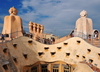Barcelona, Catalonia: roof skyline of Casa Milà, La Pedrera, by Gaudi - UNESCO World Heritage Site - photo by M.Torres