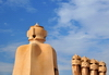 Barcelona, Catalonia: access tower and block of chimneys, roof of Casa Milà, La Pedrera, by Gaudi - UNESCO World Heritage Site - photo by M.Torres