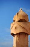 Barcelona, Catalonia: soldier-like chimney of Casa Milà, La Pedrera, by Gaudi - UNESCO World Heritage Site - photo by M.Torres
