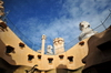 Barcelona, Catalonia: courtyard of Casa Milà - attic windows and roof structures, La Pedrera, by Gaudi - UNESCO World Heritage Site - photo by M.Torres