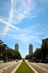 Barcelona, Catalonia: Carrer de la Marina and skyscrapers - Mapfre Tower and Arts Hotel - photo by M.Torres