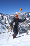 Portillo, Valpara�so region, Chile: skier hiking for fresh tracks - climbing in the Andes Mountains - photo by S.Egeberg