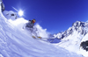 Portillo, Valpara�so region, Chile: skier free riding in deep snow in the Andes Mountains - photo by S.Egeberg