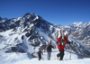 Portillo, Valpara�so region, Chile: group of skiers climbing in the Andes Mountains - photo by S.Egeberg