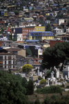 Valpara�so, Chile: view of the unique and colorful historic houses from Cerro Conception � cemetery and hill side construction - photo by C.Lovell
