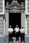 Valpara�so, Chile: sailors on guard at the Primera Zona Naval on Plaza � sentinels - photo by C.Lovell