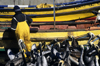 Concon village, Valpara�so region, Chile: fisherman feeds pelicans � yellow boats- photo by C.Lovell