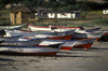 Los Molles, Valpara�so region, Chile: fishing boats on the beach - photo by C.Lovell