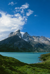 Torres del Paine National Park, Magallanes region, Chile: Cuernos del Paine - the Horns of Paine with Lake Nordenskj�ld in the foreground � the park was once part of a large sheep estancia - Chilean Patagonia - photo by C.Lovell