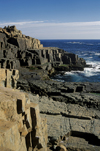Los Molles, Valpara�so region, Chile: vertical rocks along the coast - photo by C.Lovell