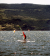 Araucanía Region, Chile - Pucón - Province of Cautín: windsurfer in Lake Villarrica - photo by Y.Baby