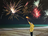 China - Hainan Island / Hainan Dao: fireworks on the beach - Chinese New year - Spring Festival (photo by G.Friedman)