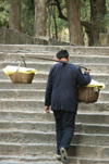 China - Mount Taishan: carrying supplies up the mountain  - Unesco World Heritage site (photo by G.Friedman)