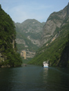 212 China - Chongqing municipality - Yangtze / Chang Jiang River: cruise boat in a gorge (photo by M.Samper)