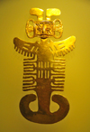 Bogota, Colombia: Gold Museum - Museo del Oro - elaborate human figure - combines feline, bird and fish elements - Tolima - photo by M.Torres