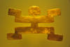 Bogota, Colombia: Gold Museum - Museo del Oro - Tolima pectoral representing a symmetrical human figure in a ritual posture, the legs mirror the arms - photo by M.Torres