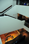 Bogota, Colombia: Gold Museum - Museo del Oro - elegant and minimalistic interior architecture - stairway - photo by M.Torres