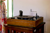 Medellín, Colombia: wind-up phonograph - Garrard phonograph turntable - photo by E.Estrada