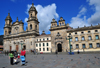 Bogota, Colombia: Plaza Bolivar, east side, Carrera S�ptima - Cathedral, Chapel of the Blessed Sacrament and the Archbishop's Palace - Catedral Primada, Capilla del Sagrario, Palacio Arzobispal - square designed by Fernando Mart�nez Sanabria and Guillermo Avenda�o - La Candelaria - photo by M.Torres