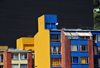 Bogota, Colombia: colourful residential buildings by the University of the los Andes - barrio Las Aguas - La Candelaria - photo by M.Torres