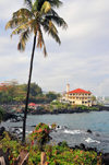 Moroni, Grande Comore / Ngazidja, Comoros islands: the Corniche - coconut tree and Prince Said Ibrahim mosque - photo by M.Torres