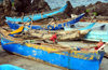 Moroni, Grande Comore / Ngazidja, Comoros islands: Comoran outrigger boats, called galawas - pirogues �balancier - photo by M.Torres